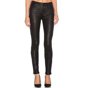 Mother charmer black leather like skinny jean